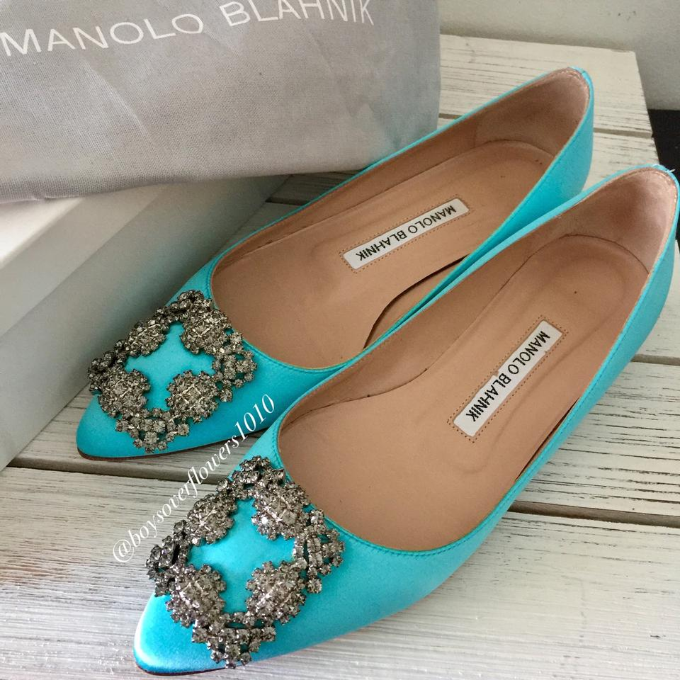 f07d5b90770c1 Manolo Blahnik Hangisi Crystal-buckle Satin Light Turquoise Blue Flats Size  EU 35.5 (Approx. US 5.5) Regular (M, B) - Tradesy