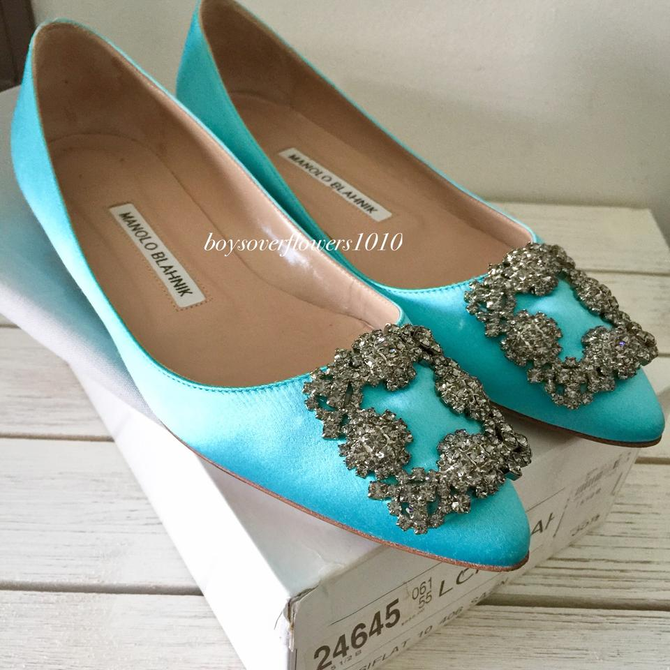 a78b6d8c8629 Manolo Blahnik Hangisi Crystal-buckle Satin Light Turquoise Blue Flats Size  EU 35.5 (Approx. US 5.5) Regular (M