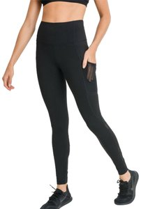 Mono B S Mono B Black Criss Cross Mesh Yoga Leggings High Waist Pants DJ2114