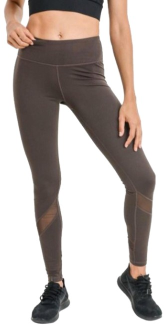 Mono B S Mono B Olive Yoga Leggings Mesh Panels High Waist Activewear DJ1324 Image 1