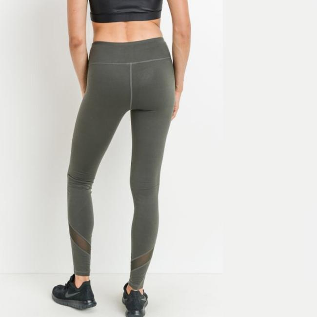 Mono B S Mono B Olive Yoga Leggings Mesh Panels High Waist Activewear DJ1324 Image 5