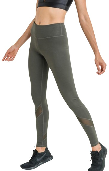 Mono B L Mono B Olive Yoga Leggings Mesh Panels High Waist Activewear DJ1324 Image 1