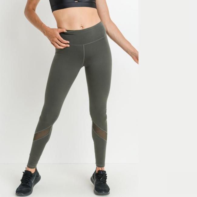 Mono B L Mono B Olive Yoga Leggings Mesh Panels High Waist Activewear DJ1324 Image 2