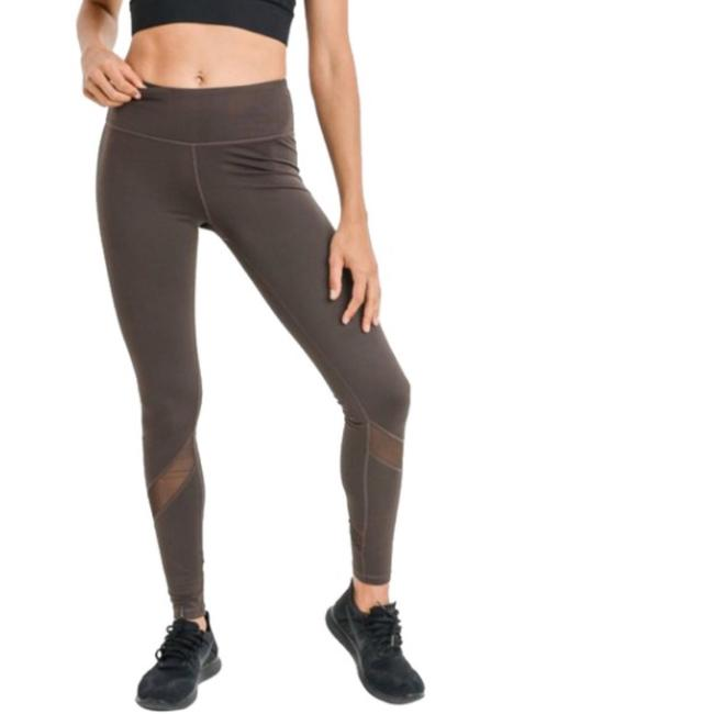 Mono B L Mono B Olive Yoga Leggings Mesh Panels High Waist Activewear DJ1324 Image 3