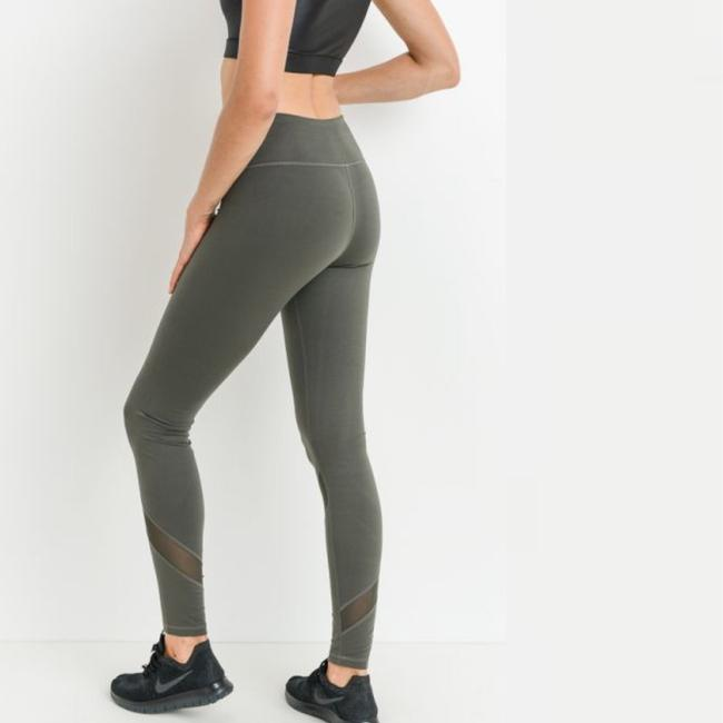 Mono B L Mono B Olive Yoga Leggings Mesh Panels High Waist Activewear DJ1324 Image 4