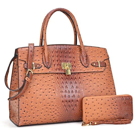 Preload https://img-static.tradesy.com/item/24223505/ostrich-embossed-with-matching-wallet-brown-faux-leather-satchel-0-0-540-540.jpg