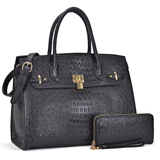 Preload https://img-static.tradesy.com/item/24223509/ostrich-embossed-with-matching-wallet-black-faux-leather-satchel-0-0-540-540.jpg