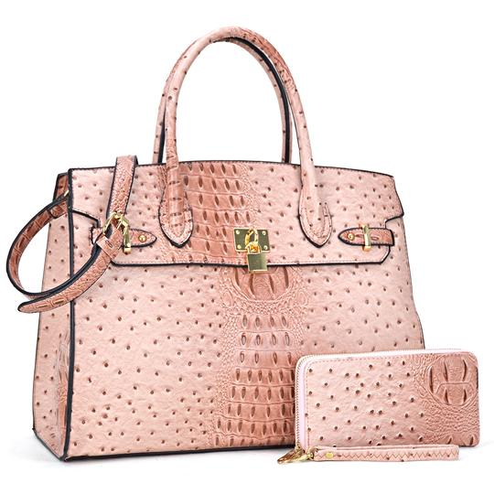 Preload https://img-static.tradesy.com/item/24223516/ostrich-embossed-with-matching-wallet-blush-faux-leather-satchel-0-0-540-540.jpg