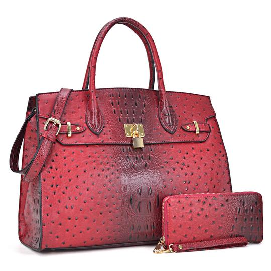 Preload https://img-static.tradesy.com/item/24223521/ostrich-embossed-with-matching-wallet-red-faux-leather-satchel-0-0-540-540.jpg