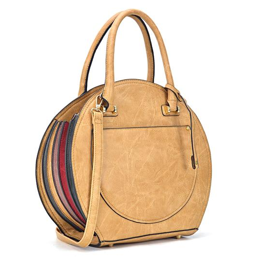 Preload https://img-static.tradesy.com/item/24223577/oval-shaped-taupe-faux-leather-satchel-0-0-540-540.jpg