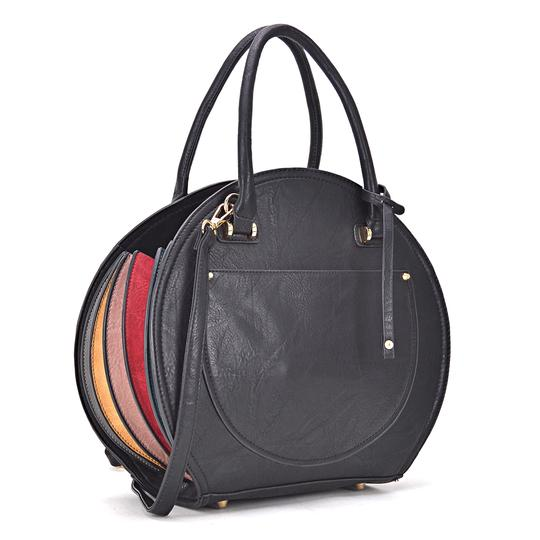 Preload https://img-static.tradesy.com/item/24223590/oval-shaped-black-faux-leather-satchel-0-0-540-540.jpg