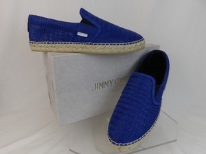 Jimmy Choo Blue Vlad Leather Croc Print Logo Espadrille 44.5 11.5 Spain Shoes