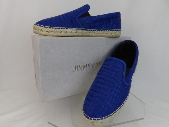 Jimmy Choo Blue Vlad Leather Croc Print Logo Espadrille 44.5 11.5 Spain Shoes Image 2