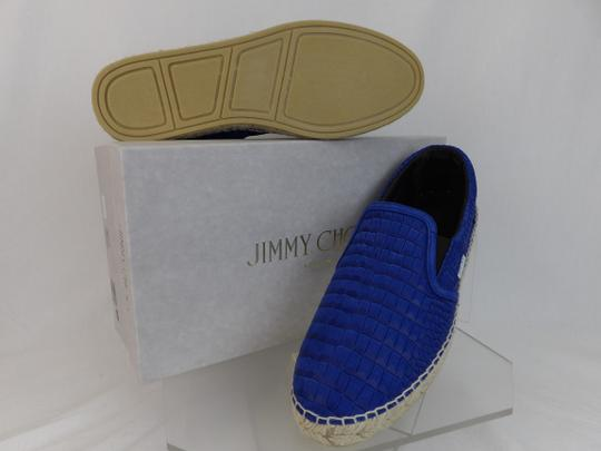 Jimmy Choo Blue Vlad Leather Croc Print Logo Espadrille 44.5 11.5 Spain Shoes Image 3