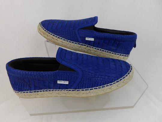 Jimmy Choo Blue Vlad Leather Croc Print Logo Espadrille 44.5 11.5 Spain Shoes Image 4
