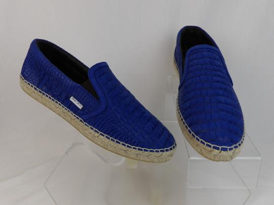 Jimmy Choo Blue Vlad Leather Croc Print Logo Espadrille 44.5 11.5 Spain Shoes Image 5