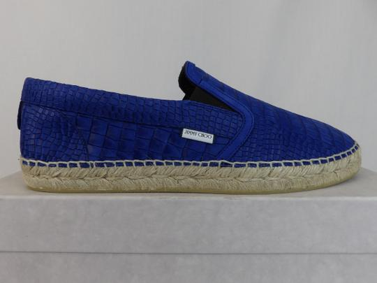 Jimmy Choo Blue Vlad Leather Croc Print Logo Espadrille 44.5 11.5 Spain Shoes Image 7
