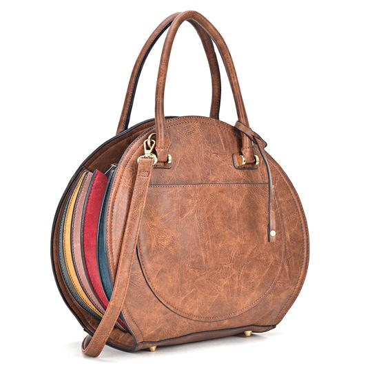 Preload https://img-static.tradesy.com/item/24223608/oval-shaped-brown-faux-leather-satchel-0-0-540-540.jpg