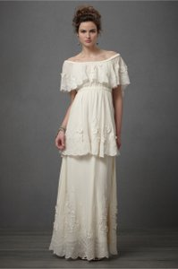 BHLDN Cream Silk Chiffon Dulcinea Vintage Wedding Dress Size 4 (S)