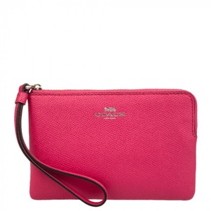 Coach Leather Bright Color-blocking Wallet Wristlet in Magenta / Pink
