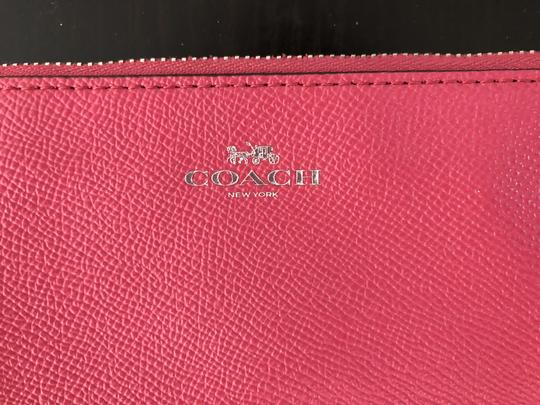 Coach Leather Bright Color-blocking Wallet Wristlet in Magenta / Pink Image 1