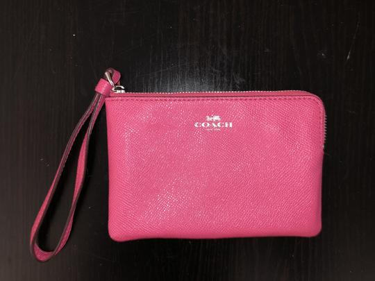 Coach Leather Bright Color-blocking Wallet Wristlet in Magenta / Pink Image 3