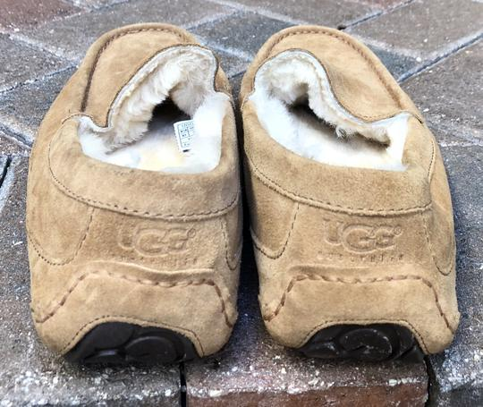 UGG Australia Leather Shearling Rubber Embossed Sole Mocs Tan Flats Image 4