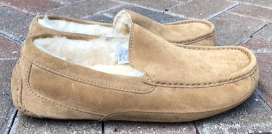 UGG Australia Leather Shearling Rubber Embossed Sole Mocs Tan Flats Image 6