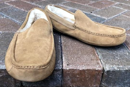UGG Australia Leather Shearling Rubber Embossed Sole Mocs Tan Flats Image 8