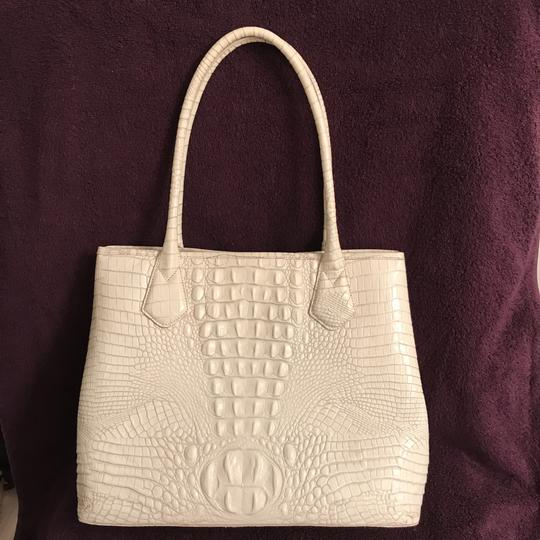 Brahmin Purse Handbag Satchel Shoulder Large Tote in White Gray Image 1