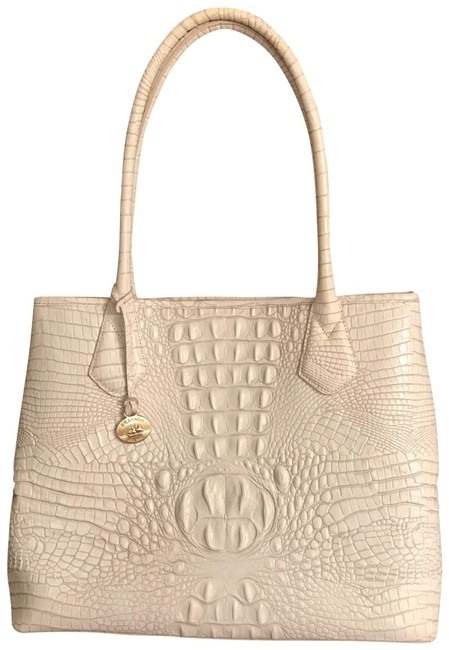Item - Lg Melbourne Anytime Expandable White Gray Leather Tote