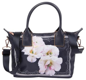Ted Baker Rose Gold Hardware Shopper Small Gardenia Floral Adjustable Strap Tote in Blue