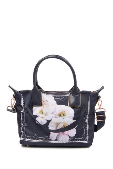 Ted Baker Rose Gold Hardware Shopper Small Gardenia Floral Adjustable Strap Tote in Blue Image 3