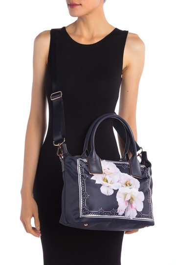 Ted Baker Rose Gold Hardware Shopper Small Gardenia Floral Adjustable Strap Tote in Blue Image 4