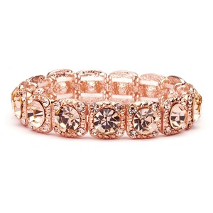 Mariell Rose-gold Coral Color Bridal Or Prom Stretch Bracelet With Crystals 532b-rg