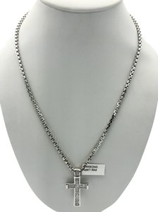 Other (047) 14K white gold diamond cross necklace