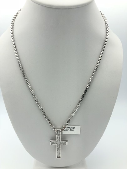 Other (047) 14K white gold diamond cross necklace Image 3