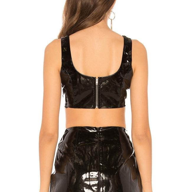 By The Way JORDY FAUX LEATHER CROP IN BLACK PATENT LEATHER Image 4
