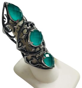Stephen Webster NEVER WORN!! Stephen Webster Les Dents De La Mer Silver/Black Rhodium Chrysoprase and Clear Quartz 3-Crystal Haze Jaws Armor Ring Sterling Silver Chrysoprase and Clear Quartz weighing 12.20 carats total weight 24.9 grams Size 8 100% Authentic Guaranteed!! Comes with Original Stephen Webster Pouch!!