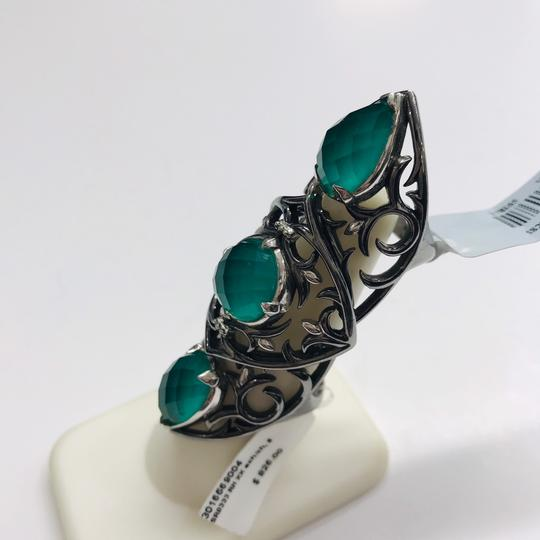 Stephen Webster NEVER WORN!! Stephen Webster Les Dents De La Mer Silver/Black Rhodium Chrysoprase and Clear Quartz 3-Crystal Haze Jaws Armor Ring Sterling Silver Chrysoprase and Clear Quartz weighing 12.20 carats total weight 24.9 grams Size 8 100% Authentic Guaranteed!! Comes with Original Stephen Webster Pouch!! Image 1