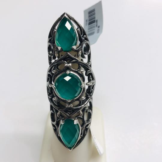 Stephen Webster NEVER WORN!! Stephen Webster Les Dents De La Mer Silver/Black Rhodium Chrysoprase and Clear Quartz 3-Crystal Haze Jaws Armor Ring Sterling Silver Chrysoprase and Clear Quartz weighing 12.20 carats total weight 24.9 grams Size 8 100% Authentic Guaranteed!! Comes with Original Stephen Webster Pouch!! Image 2