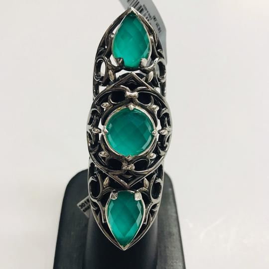 Stephen Webster NEVER WORN!! Stephen Webster Les Dents De La Mer Silver/Black Rhodium Chrysoprase and Clear Quartz 3-Crystal Haze Jaws Armor Ring Sterling Silver Chrysoprase and Clear Quartz weighing 12.20 carats total weight 24.9 grams Size 8 100% Authentic Guaranteed!! Comes with Original Stephen Webster Pouch!! Image 3
