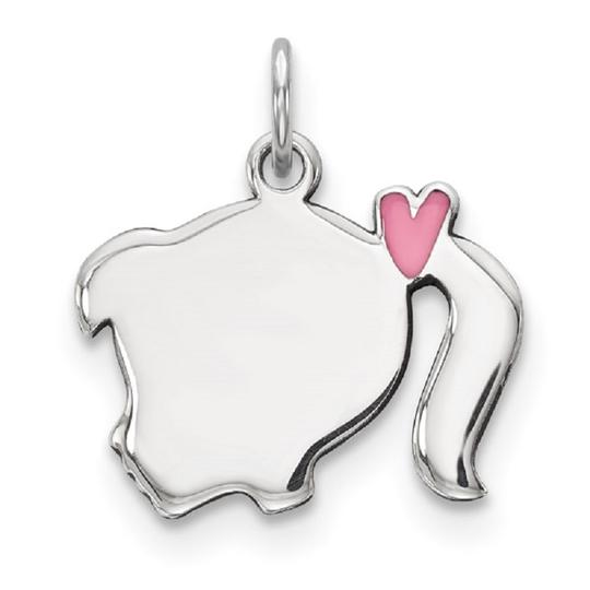 Apples of Gold PINK ENAMEL ENGRAVEABLE GIRL PENDANT IN SILVER Image 1