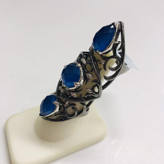 Stephen Webster NEVER WORN!! Stephen Webster Les Dents De La Mer Silver/Black Rhodium Blue Agate and Clear Quartz 3-Crystal Haze Jaws Armor Ring Sterling Silver Blue Agate and Clear Quartz weighing 11.80 carats total weight 24.9 grams Size 8 100% Authentic Guaranteed!! Comes with Original Stephen Webster Pouch!! Image 1