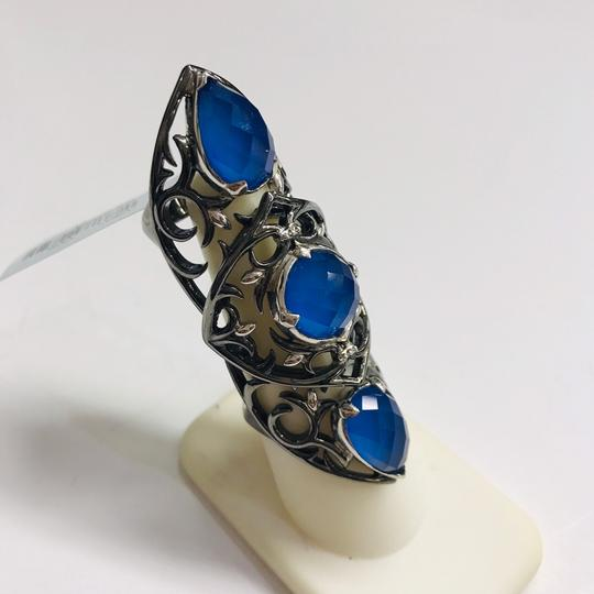 Stephen Webster NEVER WORN!! Stephen Webster Les Dents De La Mer Silver/Black Rhodium Blue Agate and Clear Quartz 3-Crystal Haze Jaws Armor Ring Sterling Silver Blue Agate and Clear Quartz weighing 11.80 carats total weight 24.9 grams Size 8 100% Authentic Guaranteed!! Comes with Original Stephen Webster Pouch!! Image 2