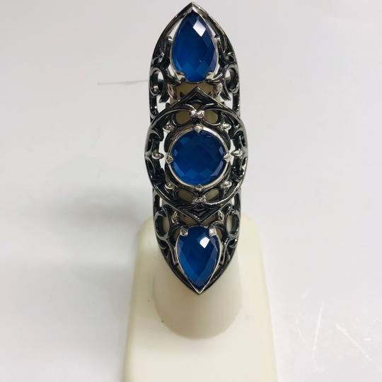 Stephen Webster NEVER WORN!! Stephen Webster Les Dents De La Mer Silver/Black Rhodium Blue Agate and Clear Quartz 3-Crystal Haze Jaws Armor Ring Sterling Silver Blue Agate and Clear Quartz weighing 11.80 carats total weight 24.9 grams Size 8 100% Authentic Guaranteed!! Comes with Original Stephen Webster Pouch!! Image 3