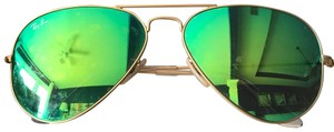 Ray-Ban Ray-Ban Gold Green Flash Aviators