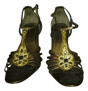 AK Anne Klein Jewel Detail Jeweled Stone Metallic Metallic Size 6 bronze Sandals