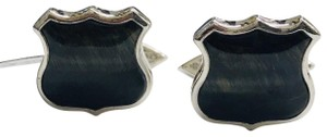 Stephen Webster NEVER WORN!! Stephen Webster Highwayman Silver/WR Blue Tiber's Eye Shield Cufflinks Sterling Silver 14.7 grams 100% Authentic Guaranteed! Comes with Original Stephen Webster Pouch!!