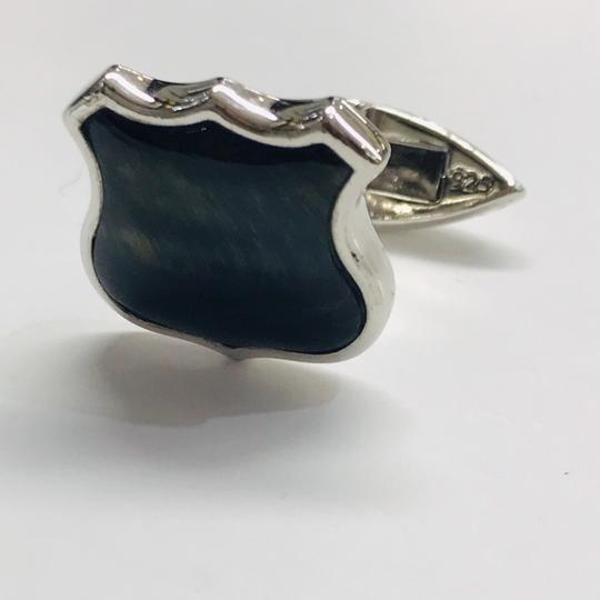 Stephen Webster NEVER WORN!! Stephen Webster Highwayman Silver/WR Blue Tiber's Eye Shield Cufflinks Sterling Silver 14.7 grams 100% Authentic Guaranteed! Comes with Original Stephen Webster Pouch!! Image 2